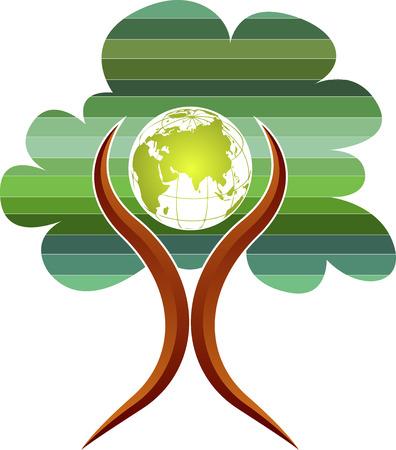Illustratie kunst van een boom wereldbol man logo met met geïsoleerde achtergrond Stockfoto - 30742619