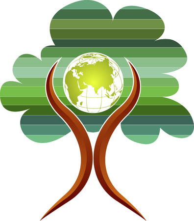 Illustration art of a tree globe man logo with with isolated background