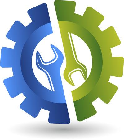 automotive mechanic: Arte de la ilustración de una llave de rueda