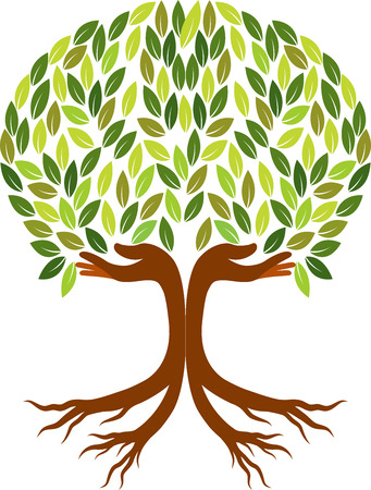 Illustration art of a hand tree isolated