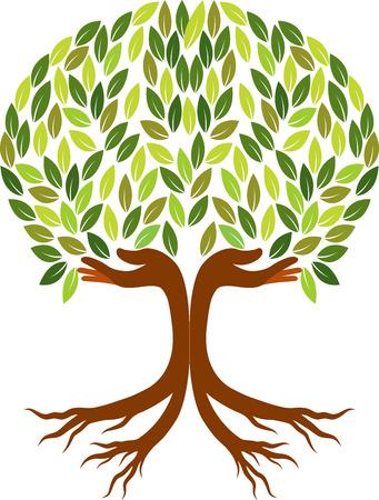 arbol con raices: Arte de la ilustración de un árbol de la mano aislados