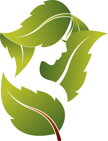 Illustration art of a face leaf with isolated background Stock Illustratie