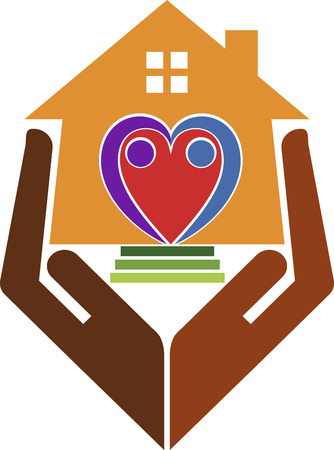 caring hands: Illustration art of a home care with isolated background