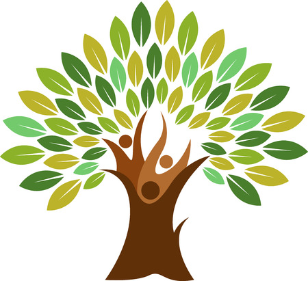 Illustration art of a couple tree icon with isolated background Çizim