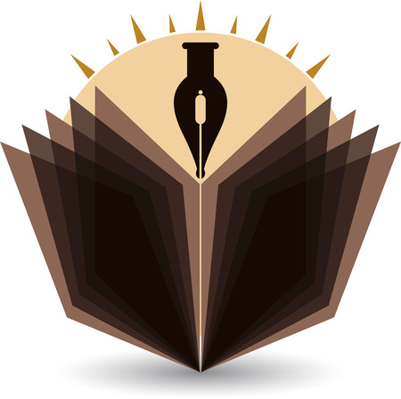 publisher: Illustration art of a bright pen and book icon with isolated background Illustration