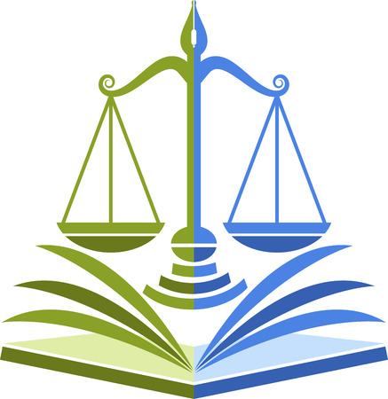 justice scales: Illustration art of a law education icon with isolated background Illustration