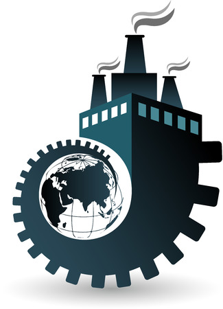 rotate: Illustration art of a globe factory icon with isolated background Illustration