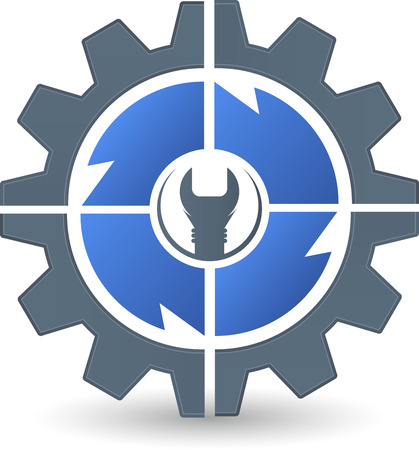 Illustration art of a gear spanner icon with isolated background Çizim