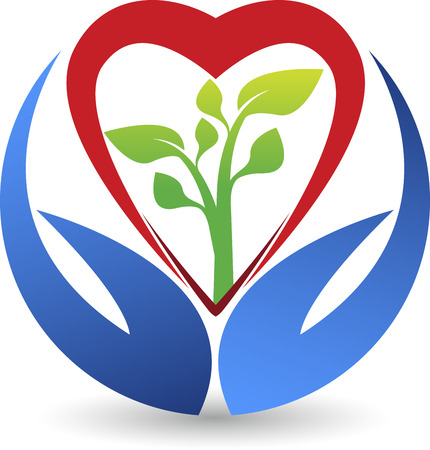 hands holding heart: Illustration art of a heart care leaf icon with isolated background