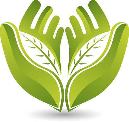 Illustration art of a hands leaf icon with isolated background