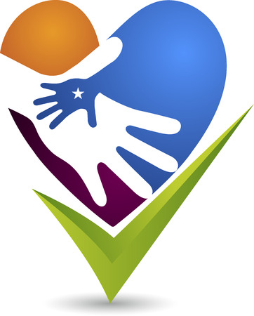 hands holding heart: Illustration art of a hand care icon with isolated background
