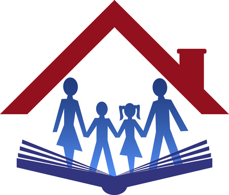 stay home work: Illustration art of a education family icon with isolated background