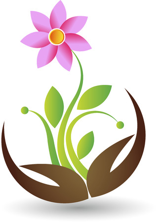 eco slogan: Illustration art of a hand flower icon with isolated background