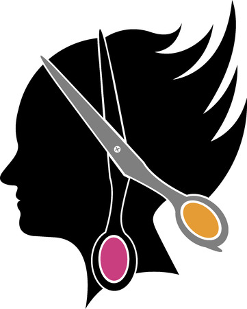 hair cutting: Illustration art of a hair cut icon with isolated background