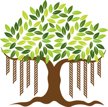 banyan tree: Illustration art of a banyan tree icon with isolated background