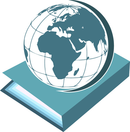 Illustration art of a book with globe on isolated background Vector