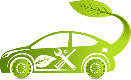 electric car: Illustration art of a Eco car service icon with isolated background