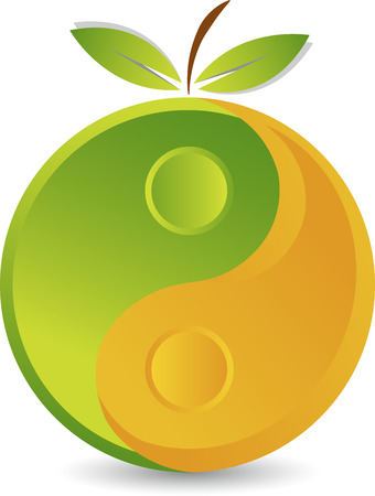 Illustration art of a yinyang fruit icon with isolated background