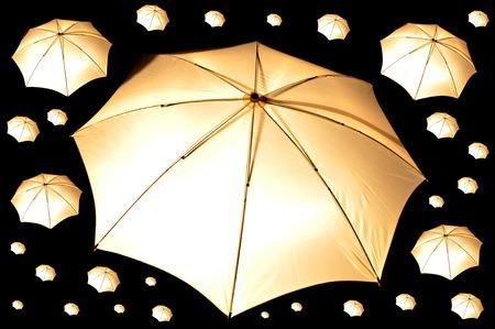 closeup shot on camera light umbrella with dark background
