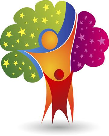 arbre feuille: Art d'illustration d'une ic�ne de l'arbre de la famille avec un fond isol�
