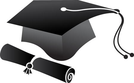 art pen: Illustration art of a pen graduation cap icon with isolated background Illustration