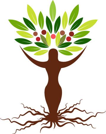 Illustratie kunst van een groei vrouw boom pictogram met geïsoleerde achtergrond Stock Illustratie