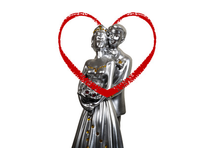 statuette: closeup shot on photo luxury lovers statuette with white background