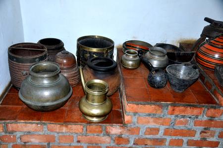 oldest: camera shot on indian oldest metal pots Stock Photo