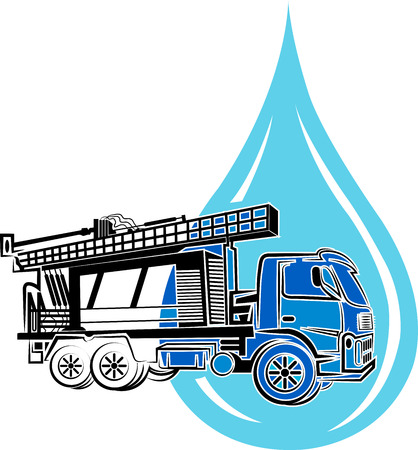 well drilling truck icon with isolated background Vectores
