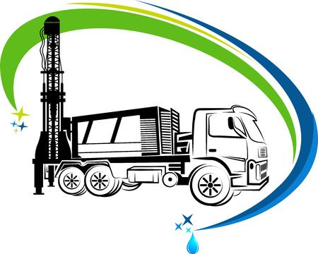 oraz ikona ciężarówka wiercenia w tle pojedyncze Ilustracje wektorowe