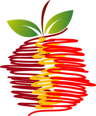 pomme rouge: Illustration art of a health fruit icon with isolated background Illustration