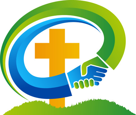 helping: Illustration art of a helping cross icon with isolated background