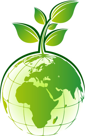 recycle logo: Illustration art of a globe tree icon design with isolated background