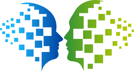 recollection: Illustration art of a couple puzzle face icon design with isolated background Illustration