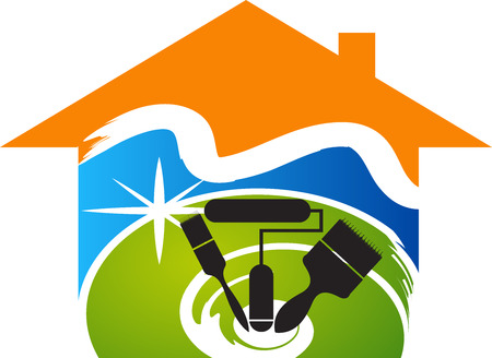 contractor: Illustration art of a colorful home paintbrush icon design with isolated background