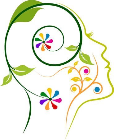 the mind: Illustration art of a floral face icon design with isolated background