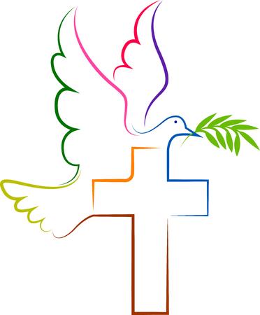 Illustratie kunst van een duif icoon met geïsoleerde achtergrond Stock Illustratie