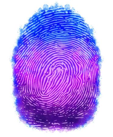 criminal investigation: digital painting fingerprints design with isolated background