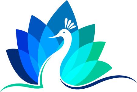 Illustration Kunst eines Pfau floralen Symbol mit weißem Hintergrund