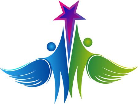 art Illustration d'une icône couple, mouche étoile, isolé, fond