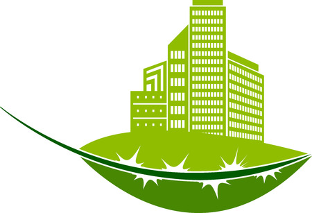condo: Illustration art of a green Eco building icon with isolated background Illustration