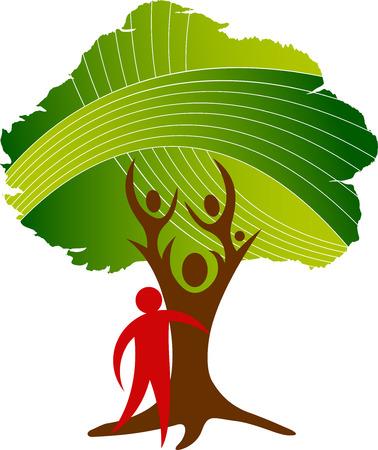 arbol genealógico: Arte de la ilustración de un icono del árbol de la familia con antecedentes aislados