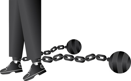 businessman shoes: Illustration art of a ball and chain restraining with isolated background