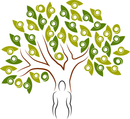 attainments: Illustration art of a human tree icon with isolated background