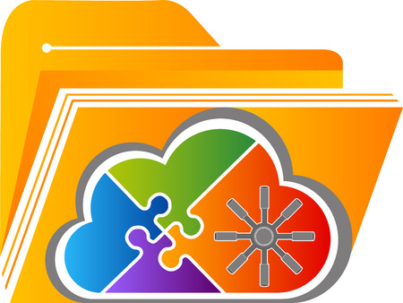 Illustration art of a cloud security storage icon with isolated background
