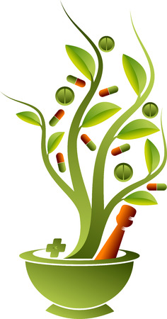 Illustration art of a herbal medicine design with isolated background