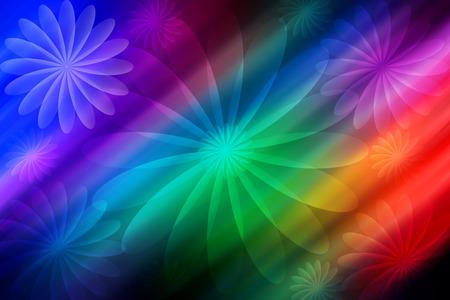 background designs: Abstract rainbow flower designs on black background