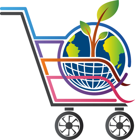 trolly: Illustration art of a purchase global tree design with isolated background