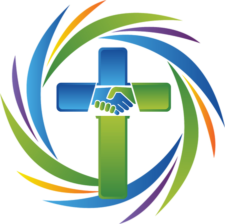 Illustration art of a care cross handshake icon with isolated background