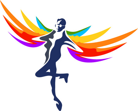 heal care: Illustration art of a  flying man icon with isolated background